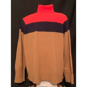 NEW J CREW Colorblock Turtleneck Soft Sweater
